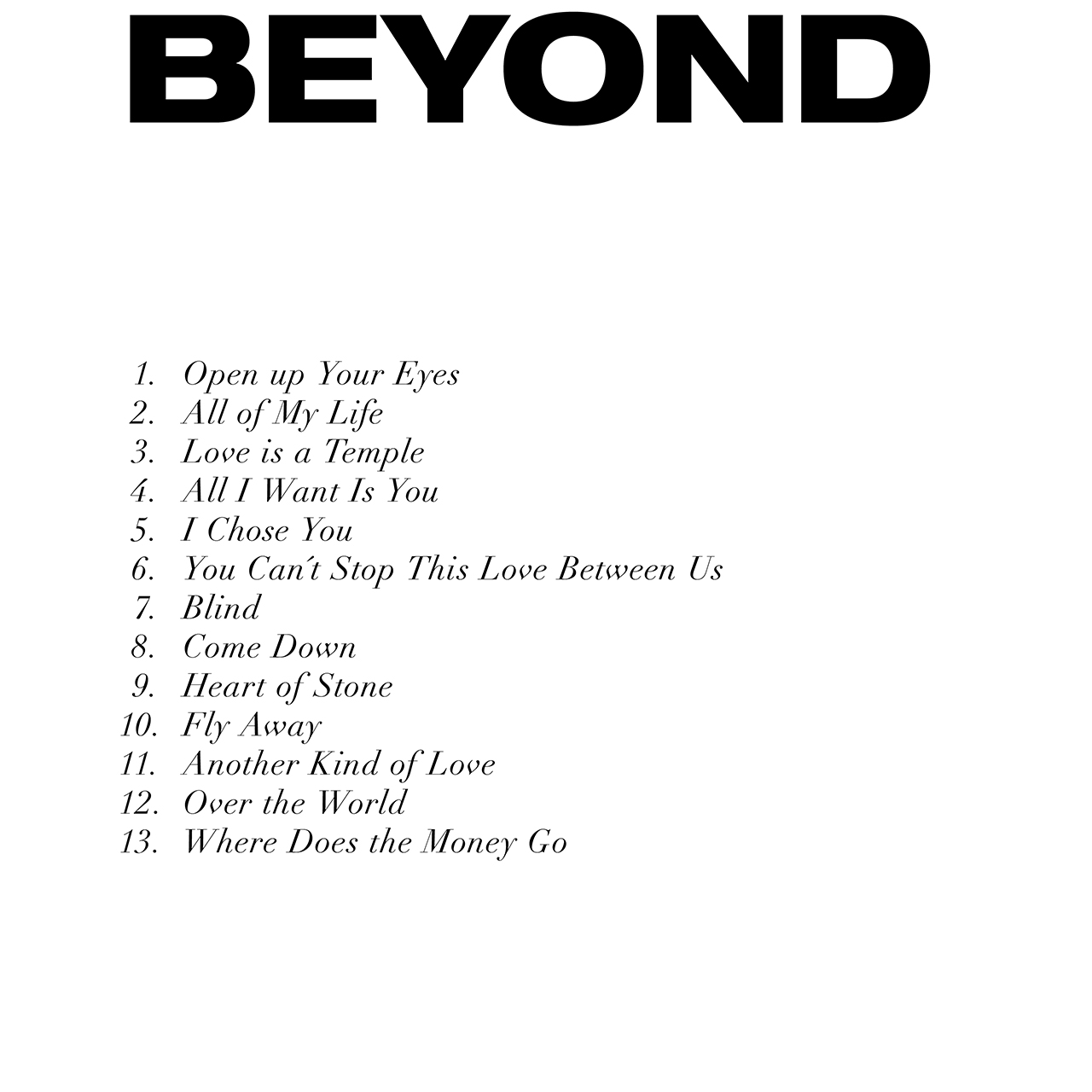 Beyond - tracce